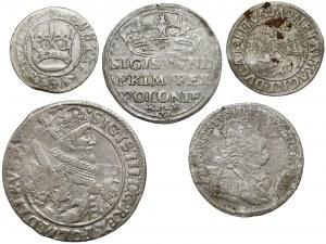 Od Zygmunta I Starego do Augusta III Sasa - różne nominały (5szt)