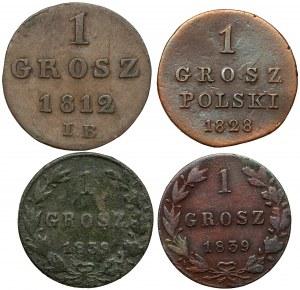 Od Księstwa Warszawskiego do Zaborów - 1 grosz (4szt)