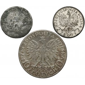 Głowa Kobiety 2 i 10 złotych 1933 - falsyfikaty z epoki