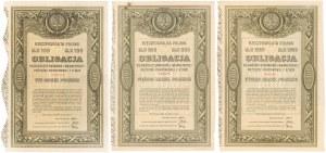 5% Poż. Krótkoterminowa 1920, Obligacje 100-1.000 mkp 1920 (3szt)