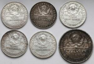 ZSSR, Rubel i połtinniki 1924-1925 (6szt)