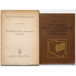 Znaleziska monet rzymskich z Mazowsza i Podlasia + Znaleziska monet rzymskich na Śląsku (2szt)