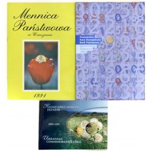 Mennica Państwowa 1991; Monety ukraińskie; Sprawozdanie PKO 1996 (3szt)