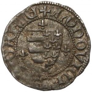 Ludwik Andegaweński, Denar węgierski - król / tarcza (1372-82)