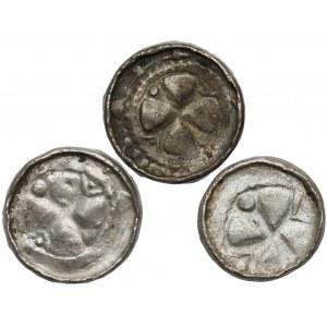 Denary krzyżowe (3szt) CNP V i VII - krzyż perełkowy i z pastorałem