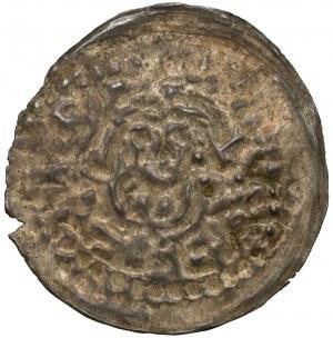 Wielkopolska, Władysław Odonic 1207-1239, Denar brakteatowy, Gniezno - popiersie Św. Wojciecha - RZADKI