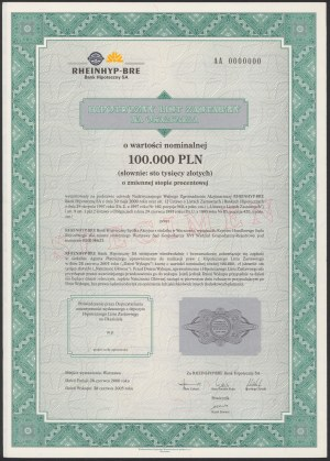 Rheinhyp-BRE Bank Hipoteczny, List zastawny, SPECIMEN 100.000 zł 2005
