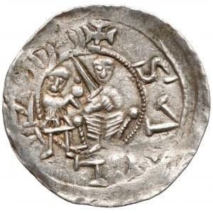 Władysław II Wygnaniec, Denar - Walka z lwem - b.ładny