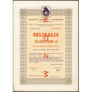 Zrzeszenie Przemysłu Ciągnikowego Ursus, WZÓR Obligacji 30 mln zł 1990
