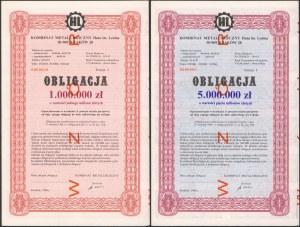 Kombinat Matalurgiczny Huta im. Lenina, WZÓR Obligacji 1 i 5 mln zł 1990