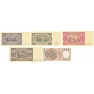 WZORY kolekcjonerskie emisji 1948-65 (5szt)