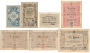 Austria i Węgry, zestaw banknotów z lat 1848-88 (7szt)
