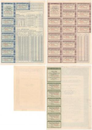 3% Poż. Inwestycyjna 1935 i 4.5% Poż. Węwnetrzna 1937, Świadectwo ułamkowe 5 zł, Obligacje 100 zł (4szt)