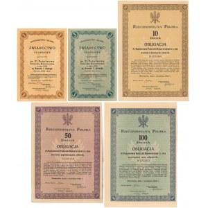 5% Poż. Konwersyjna 1924, Świadectwo ułamkowe 1 i 3 zł, Obligacje 10-100 zł (5szt)