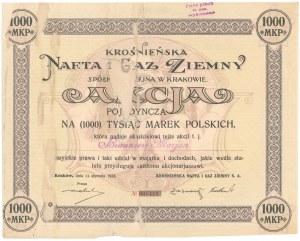 Krośnieńska Nafta i Gaz Ziemny, 1.000 mkp 1922