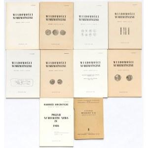 Wiadomości numizmatyczne 1981-1985 + dodatek (10szt)