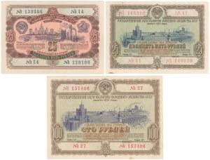 Rosja ZSRR - zestaw obligacji 1952-53 (3szt)