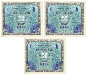 Niemcy, Okupacja aliancka, 3x 1 Mark 1944 - 9 cyfr (3szt)