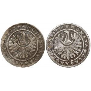 Śląsk, Chrystian i Jerzy III, 15 krajcarów 1664 Brzeg (2szt)