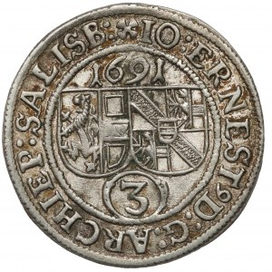 Austria, Salzburg, Jan Ernst von Thun, 3 krajcary 1691