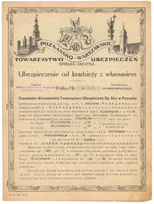 Poznańsko - Warszawskie Tow. Ubezpieczeń, Polisa od kradzieży z włamaniem