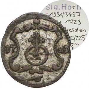 August II Mocny, Halerz 1729 IGS, Drezno - ex. Horn