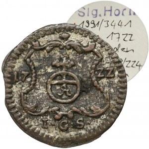 August II Mocny, Halerz 1722 IGS, Drezno - ex. Horn