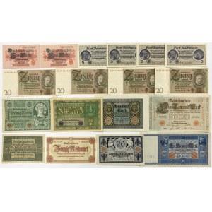 Niemcy, zestaw banknotów (18szt)