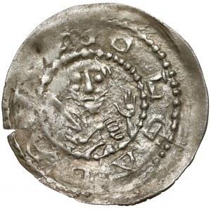 Lestek Bolesławowic (1173–1185) lub Kazimierz II Sprawiedliwy (1185–1194), Denar brakteatowy
