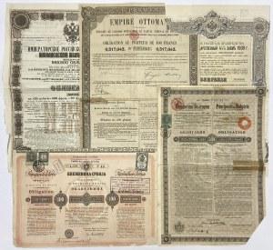 Rosja, Bułgaria, Serbia - zestaw (5szt)