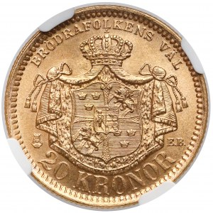 Szwecja, Oskar II, 20 koron 1884 EB