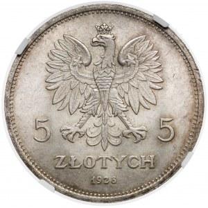 Nike 5 złotych 1928 ze znakiem, Warszawa