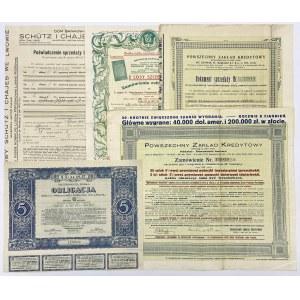 Zamówienia: Powszechny i Gospodarczy Zakład Kredytowy + Oblig. Poż. Dolarowej 1931 (5szt)