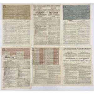 Tow. Warszawsko-Wiedeńskiej Żelaznej Drogi, Obligacje 1800-1901 r. (6szt)