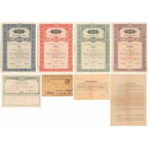 6% Poż. Narodowa 1934, Dyplom i Obligacje 50-1.000 zł (8szt)