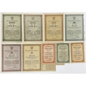 5% Poż. Konwersyjna 1924, Obligacja na 10-2.000 zł i 5% Świadectwo Ułamkowe 1924 na 1-5 zł (9szt)
