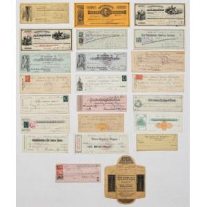 USA, Stare czeki bankowe - zestaw (21szt)