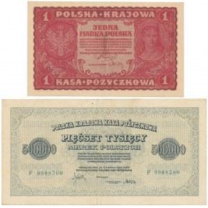 1 mkp 08.1919 i 500.000 mkp 1923 - zestaw (2szt)