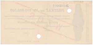 Przekaz na 100 mln mkp 1923 - WZÓR