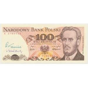 100 złotych 1975 - z autografami Cz. Kamińskiego i A. Heidricha