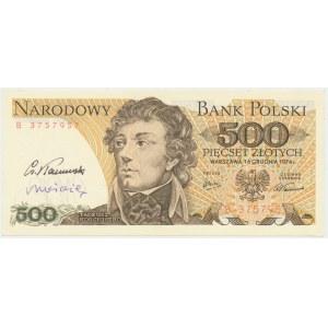 500 złotych 1974 - z autografami Cz. Kamińskiego i A. Heidricha