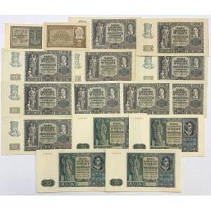Zestaw banknotów 1 - 50 złotych 1940-1941 (16szt)