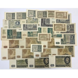 Zestaw banknotów 1 - 500 złotych 1940-1941 (29szt)