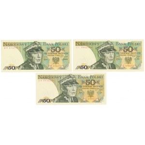 50 złotych 1975-1982 (3szt)