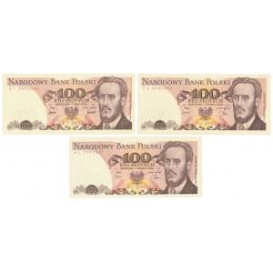 100 zł 1976-ET, 1979-FU i 1982-HL (3szt)