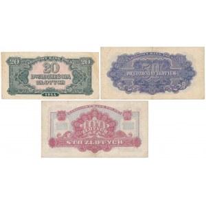 Zestaw banknotów 20, 50 i 100 złotych 1944 (3szt)