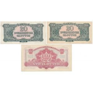 Zestaw banknotów 2x 20 i 100 złotych 1944 (3szt)