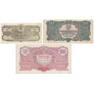 Zestaw banknotów 5, 20 i 100 złotych 1944 (3szt)