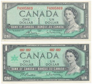 Kanada, 1 Dollar 1954 i 1967 (2szt)