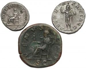 Cesarstwo Rzymskie - zestaw - denar, antoninian i sesterc (3szt)